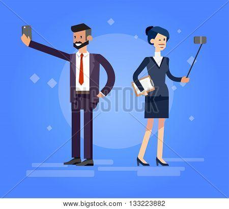 Vector detailed character make Selfie. Selfie shots family and couples Selfie. Selfie shot man, woman make Selfie, sporty woman. Vector selfie people set, life with selfie photo camera