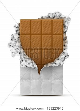 Milk chocolate bar isolated on white. Sweet chocolate wrapped in foil.