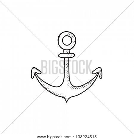 Anchor vector sketch icon isolated on background. Hand drawn Anchor icon. Anchor sketch icon for infographic, website or app.