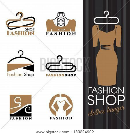 Fashion shop logo - Brown Dress and Clothes hanger vector set design