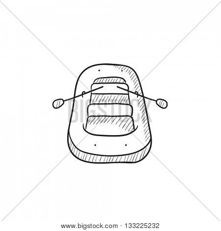 Inflatable boat vector sketch icon isolated on background. Hand drawn Inflatable boat icon. Inflatable boat sketch icon for infographic, website or app.