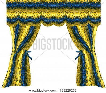 Folded gold and blue curtains with pattern of geometric motifs. Decorative shiny drapery with abstract pattern