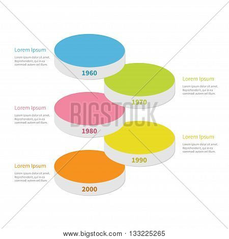 Vertical timeline round colorful stage podium segment Infographic with text. Template. Flat design. White background. Isolated. Vector illustration