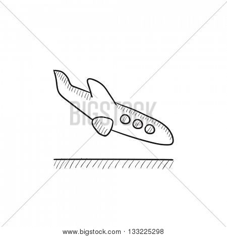 Landing aircraft vector sketch icon isolated on background. Hand drawn Landing aircraft icon. Landing aircraft sketch icon for infographic, website or app.