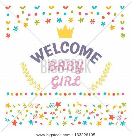 Welcome Baby Girl Shower Card. Arrival Card. Cute Postcard