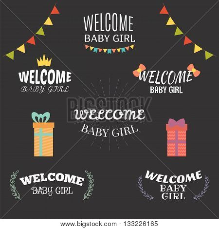 Welcome Baby Girl. Baby Girl Arrival Postcards. Baby Shower Card Design. Set Of Emblems, Labels, Sti