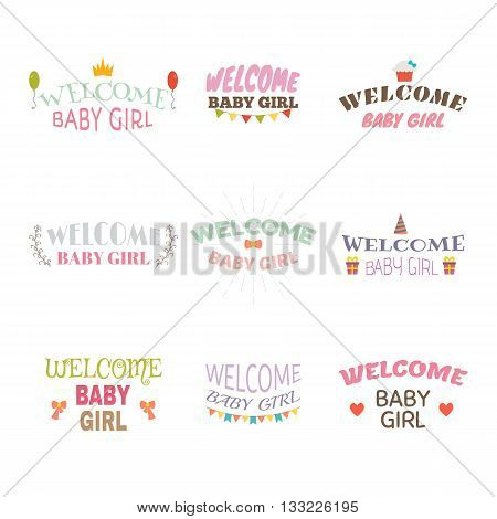 Welcome Baby Girl. Baby Girl Arrival Postcards. Baby Shower Card Design. Set Of Labels, Emblems, Sti