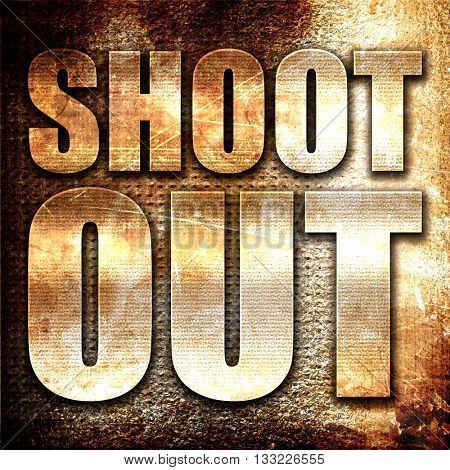 shoot out, 3D rendering, metal text on rust background