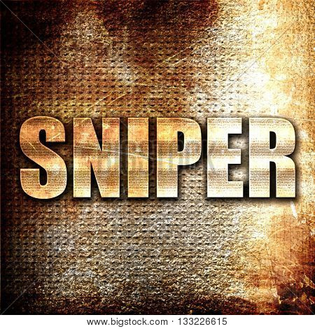 sniper, 3D rendering, metal text on rust background