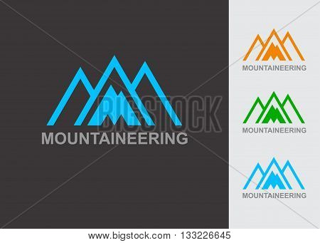Business Icon - Vector logo design template. Abstract emblem for mountaineering, mountain exploration, outdoors adventure, skiing, ski resort, recreation tourism, camping equipment,