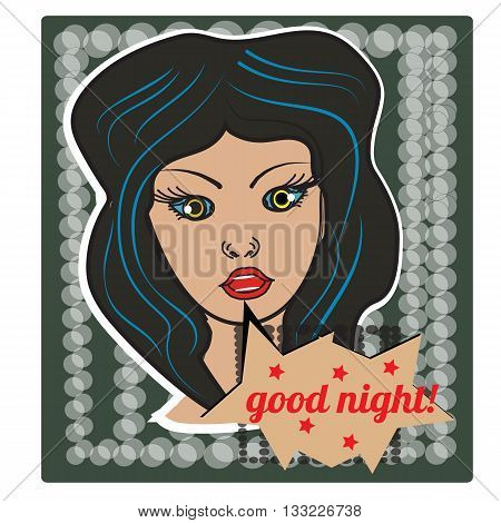 Pop art style girl on halftone background with happy good night bubble. Sticker figure, poster. Vector. Social netwok sticker