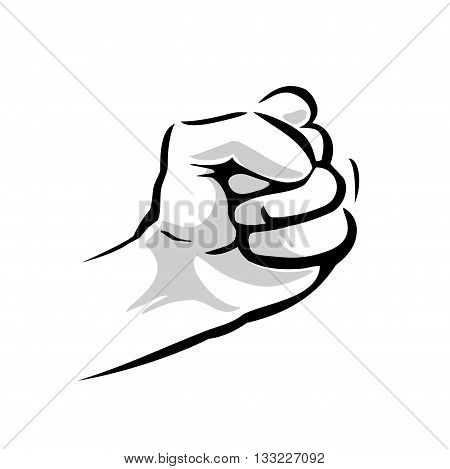 Human hand with a clenched fist. Vector black and gray illustration isolated on a white background. For web poster info graphic