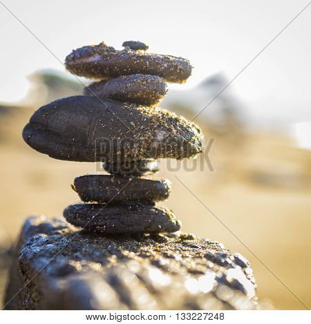 Pile of stones in a feng shui setting