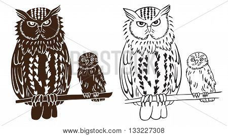 illustration on white background bird owl and chick pattern and silhouette