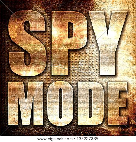spy mode, 3D rendering, metal text on rust background