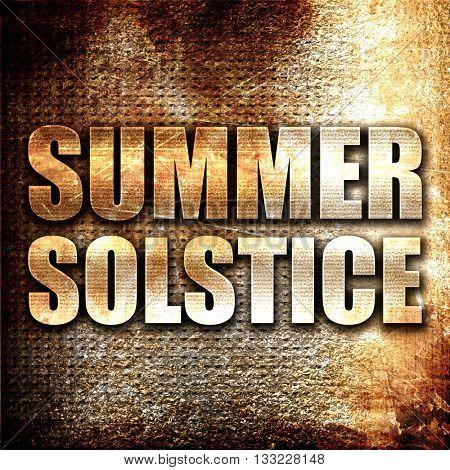 summer solstice, 3D rendering, metal text on rust background