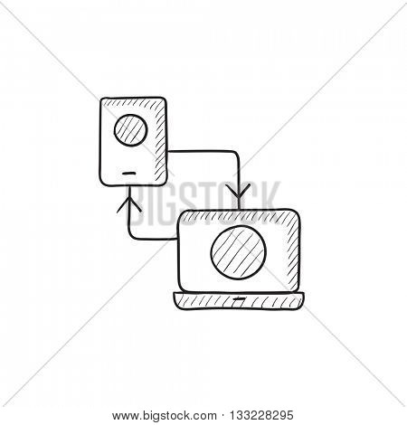 Synchronization smartphone with laptop vector sketch icon isolated on background. Hand drawn Synchronization smartphone with laptop icon. Synchronization sketch icon for infographic, website or app.
