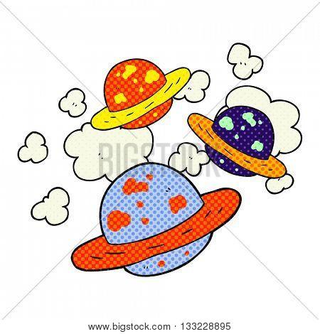 freehand drawn cartoon planets