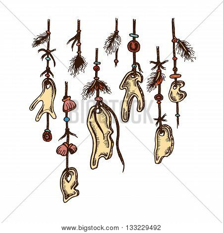Set of hand drawing ink colored pendants. Vector illustration. Set of doodle tribal elements. Pendants in native style for greeting card and postcard, henna and tattoo design.