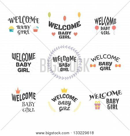 Welcome Baby Girl. Baby Shower Design. Baby Girl Arrival Postcards. Set Of Labels, Emblems, Stickers