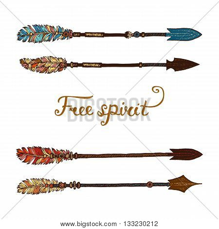Set of trendy hipster hand drawn arrows. Rustic decorative arrows. Set of hand drawing ink arrows. Set of doodle tribal arrows. Elements in native style for greeting card and postcard, tattoo design.