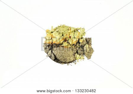Green and yellow eye shadow crushed sample