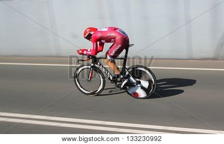 APELDOORN, NETHERLANDS-MAY 6 2016: Maxim Belkov of pro cycling team Katusha during the Giro d'Italia prologue time trial.