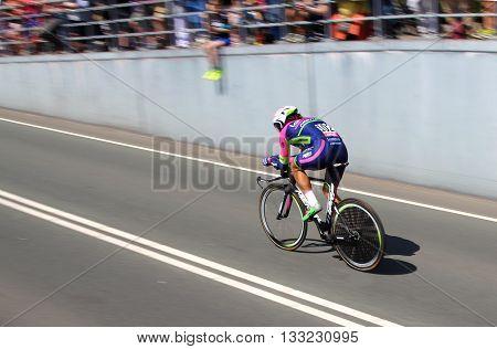 APELDOORN, NETHERLANDS-MAY 6 2016: Roberto Ferrari of pro cycling team Lampre-Merida during the Giro d'Italia prologue time trial.