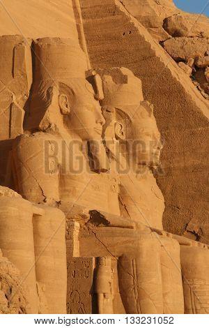 Façade of Big Temple of Abou Simbel , Egypt,