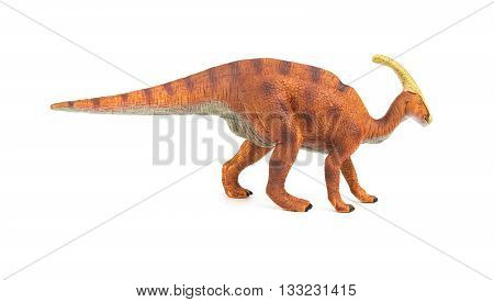 side view brown Parasaurolophus toy on a white background