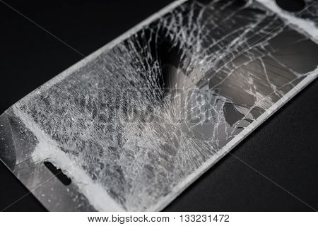 close up of broken screen of a smart phone