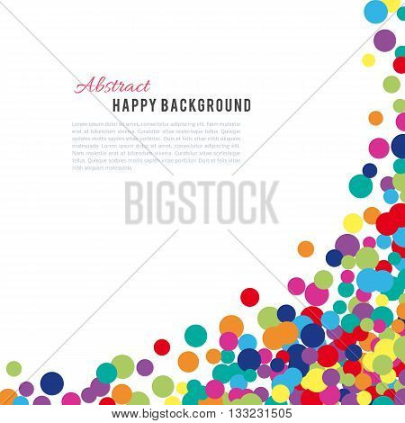 Colorful abstract spot background. Vector illustration for bright design. Art splash backdrop. Modern pattern decoration. Color holiday wallpaper. Fun dot card. Happy mood style. Fiesta drop paint