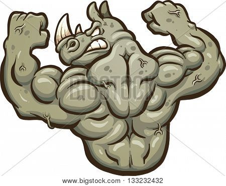 Angry strong rhinoceros mascot. Vector clip art illustration with simple gradients. All in a single layer.