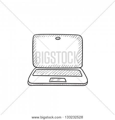 Laptop vector sketch icon isolated on background. Hand drawn Laptop icon. Laptop sketch icon for infographic, website or app.