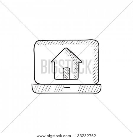 Laptop with home on the screen vector sketch icon isolated on background. Hand drawn Laptop with home on the screen icon. Laptop with home on the screen sketch icon for infographic, website or app.