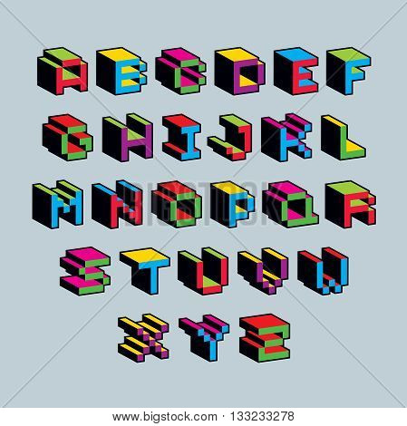 Vector font typescript created in 8 bit style. Pixel art contemporary capital letters set 3d digital design elements.