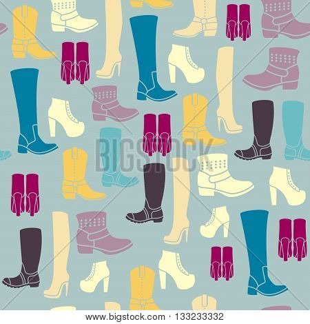 Seamless pattern with flat icons of womens shoes. Pattern for packaging and clearance Shoe store.