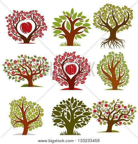 Vector art drawn trees with ripe apples and beautiful red blossom. Harvest season idea eco symbols can be used as ecology and environmental conservation concept.