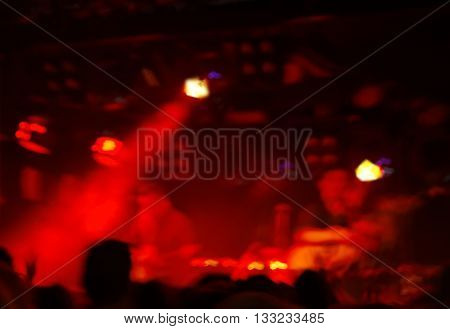 blur red light concert in bar or club at night