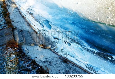 Texture of ice on the frozen lake