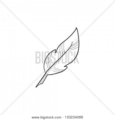 Feather vector sketch icon isolated on background. Hand drawn Feather icon. Feather sketch icon for infographic, website or app.