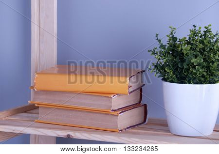 Old books on a wooden shelf. Back to school.