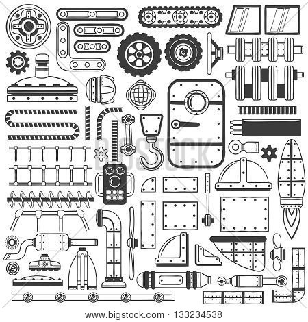 Compilation of machinery parts parts of device or machines drawing in doodle style handmade.