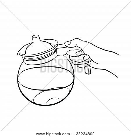 Woman hand holding teapot. Kitchen tools. Outline cooking gesture. Cooking hand isolated on white background.