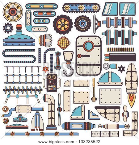 Doodle steam punk spare parts set for machinery construction.