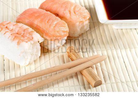 Salmon sushi nigiri on a table closeup