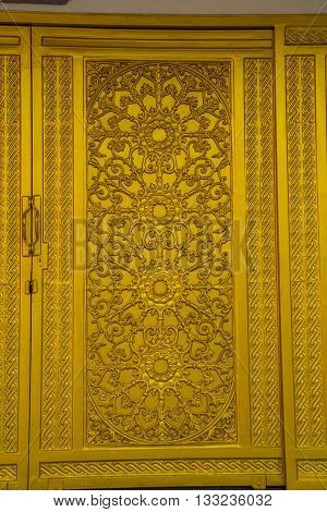 Golden Door At Buddhist Temple The City Of Nakhon Ratchasima. Thailand.