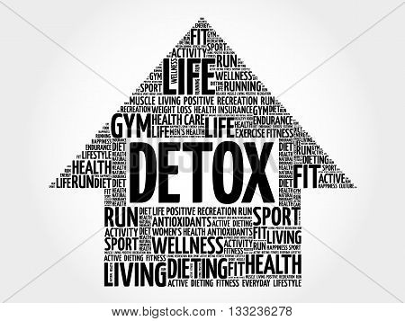 DETOX arrow word cloud health concept, presentation background