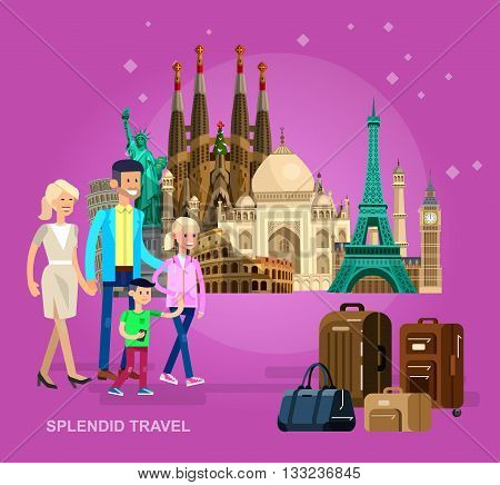 High quality, detailed most famous World landmarks characters family travel, Statue of Liberty, Taj Mahal, Eiffel Tower, Leaning Tower, Big Ben, Parthenon, Egyptian Sphinx and Pyramids