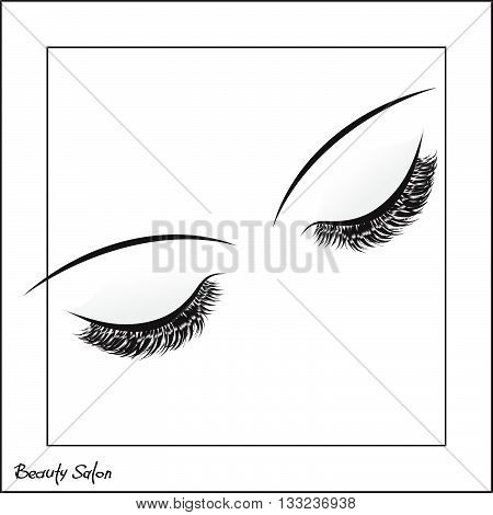 Vector eye with make up and long lashes on white background. False lashes. Beauty Salon Logo, Business Card, Flyer Design